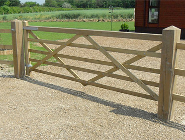 Treated Wooden Gate Fence Wooden Posts Field Farm Entrance Gate Posts